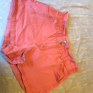 Salmon colored ruffle topped shorts, never worn